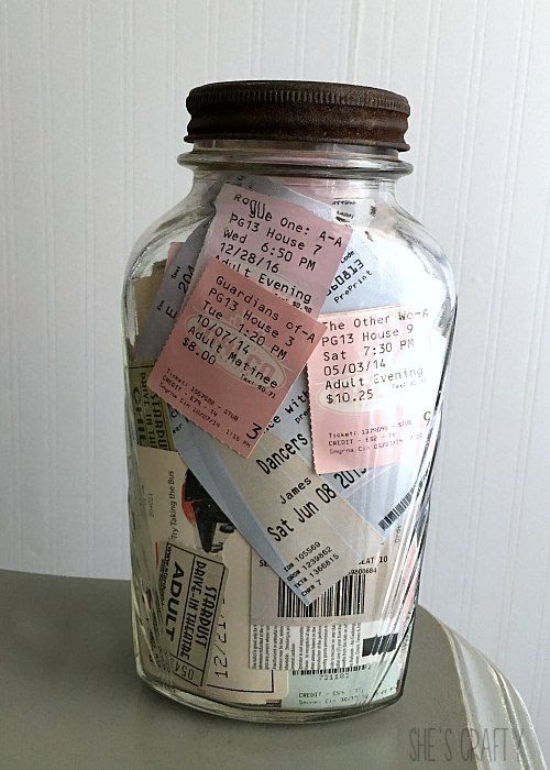 memory jar, ticket saver, ticket stubbs