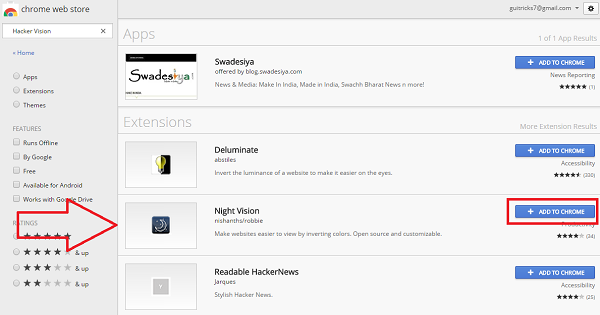 Turn ON Night Mode In Google Chrome