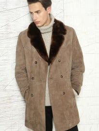 Vintage Renewal Double Breast Sheepskin Car Coat