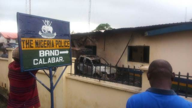 Police station torched in clash with Navy in Calabar