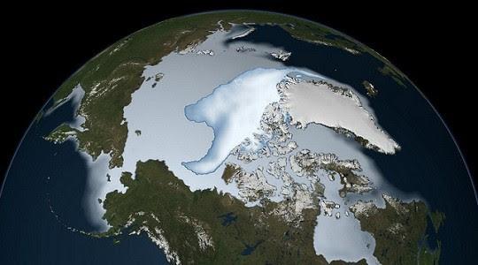 Οι πάγοι στην Αρκτική, το 2012, όπως τους παρατήρησαν τα όργανα της NASA. Με έντονο λευκό οι πολυετείς πάγοι. credit: NASA