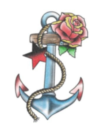 Anchor And Rose Temporary Tattoo Tattooednow Ltd