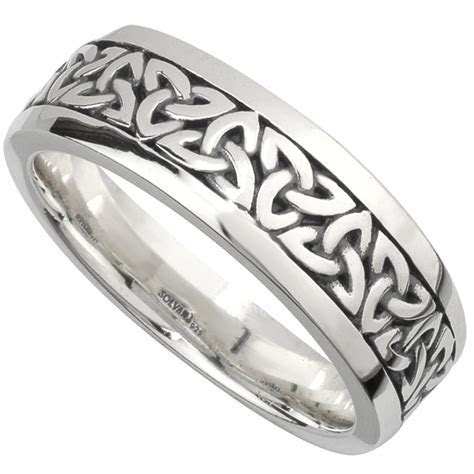 Irish Wedding Band   Sterling Silver Mens Celtic Trinity