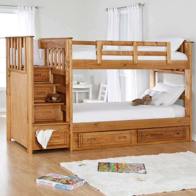 Stairway II Twin over Twin Bunk Bed with Stairs + 2 Free ...