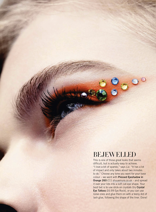 LE FASHION BLOG BEAUTY EDITORIAL GLAMOUR UK BRIGHT EYES ORANGE CAT EYE WING EYELINGER GEMS EMBELLISHED BOLD MASCARA LASHES 6