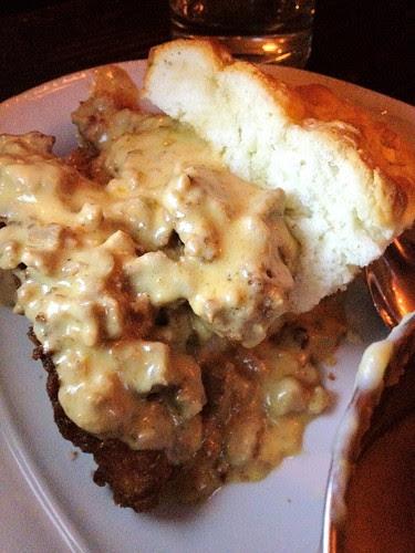 Sausage Gravy Smothered Chicken: buttermilk fried chicken