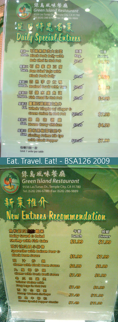Menus- Daily Special and New Entrees