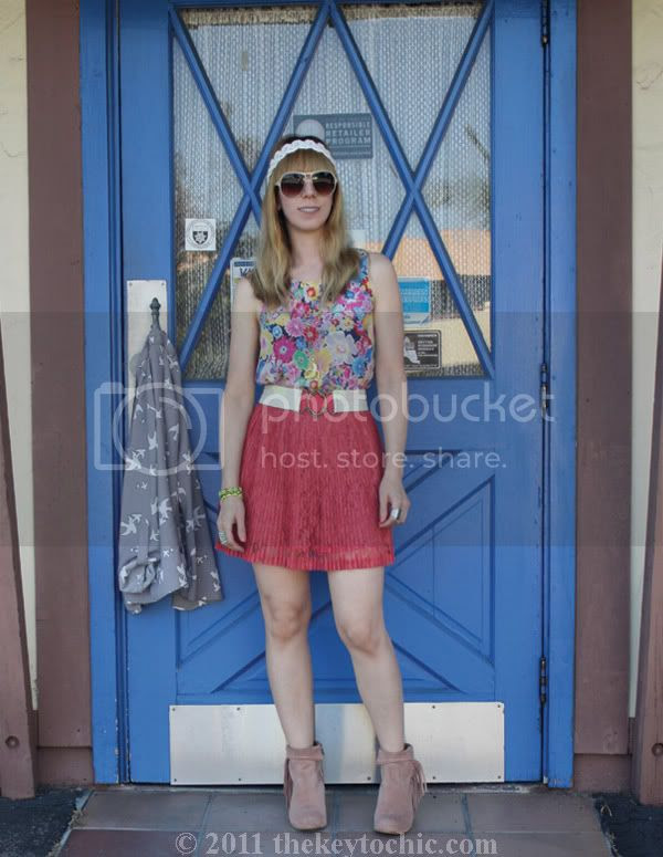 rose suede Sam Edelman Louie boots, Forever 21 lace skirt, floral top, and bird print cardigan, California fashion blog