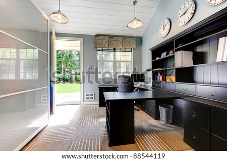 Blue Modern Home Office Interior Design With Dark Brown Furniture ...
