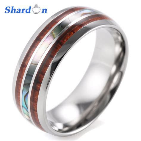 SHARDON Men's 8mm Titanium Wedding Ring With Double Wood
