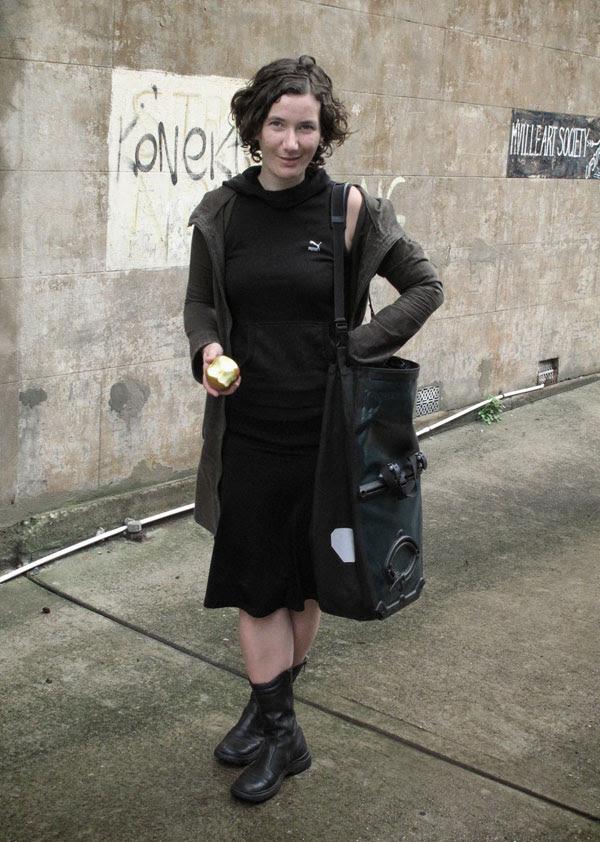 Black Black & Black Boots + Pannier, Marrickville, Street Fashion Sydney