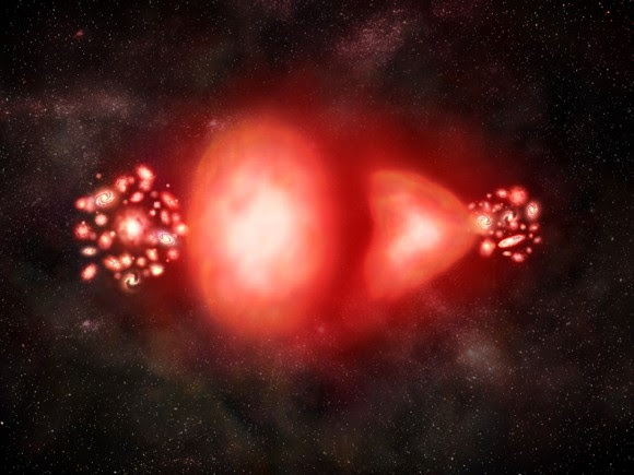 What matter and antimatter might look like annihilating one another. Credit: NASA/CXC/M. Weiss