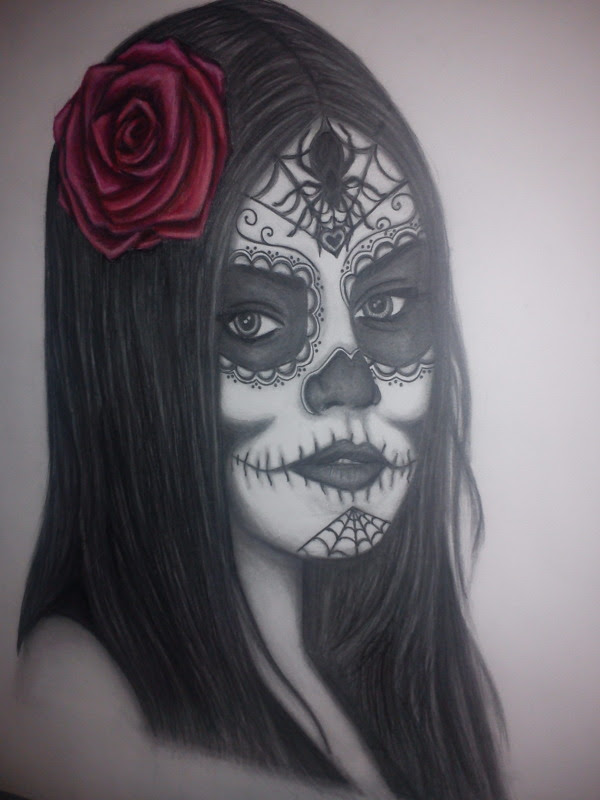 Sugar Skull Girl Drawing Outline
