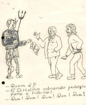 Alguns documentos, como uma charge que representa o arcebispo de Olinda e Recife como um %u201Csantanás cobrando pedágio para o inferno%u201D não possuem autores nem referências de publicação. Dom Helder chegou a declarar que não ficou surpreso com o prontuário e, talvez, seu receio em abri-lo ao público seria a difusão deste tipo de material (Reprodução/ Prontuário)