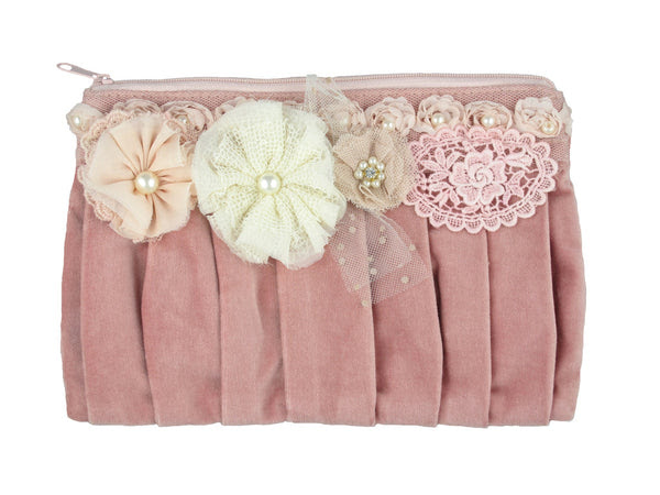 Velvet Pleated Purse (Pink)