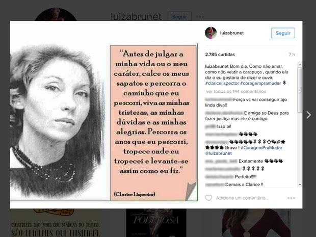 Nas redes sociais, Luiza Brunet postou frase sobre julgamentos (Foto: Reprodução/Instagram)