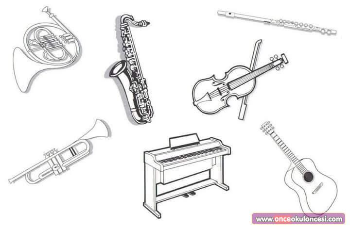 Müzik Aletleri Boyama Sayfaları