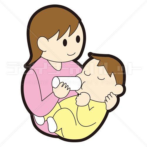赤ちゃんにミルクをあげる母親 イラパレロイヤリティフリーの