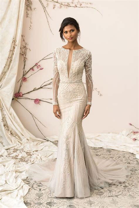 Style 9894: Plunging V Neck Allover Beaded Fit and Flare