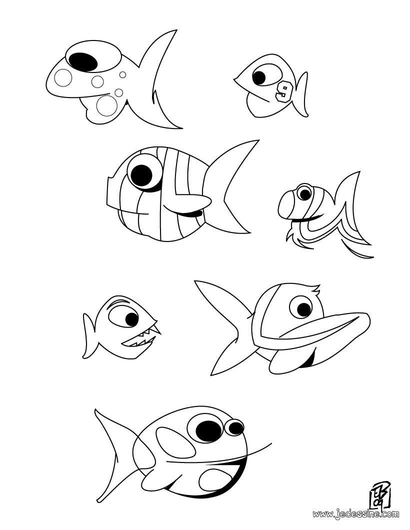 Coloriage d un banc de poissons