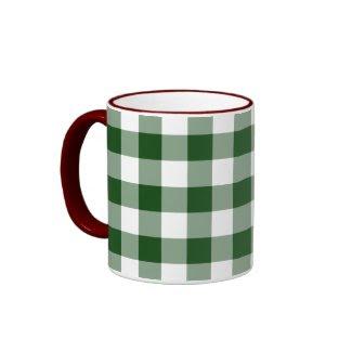 Green and White Gingham Pattern mug