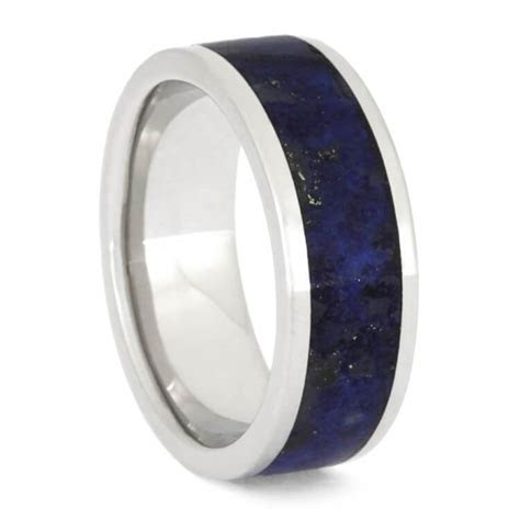 Men's Lapis Lazuli Wedding Band, Platinum Ring, Jewelry By
