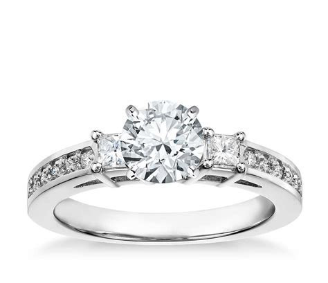 Trio Princess Cut Pavé Diamond Engagement Ring in 14k