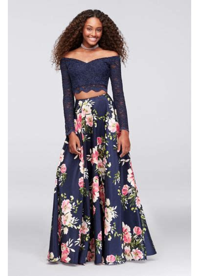 Off the Shoulder Lace and Shantung Two Piece Dress   David