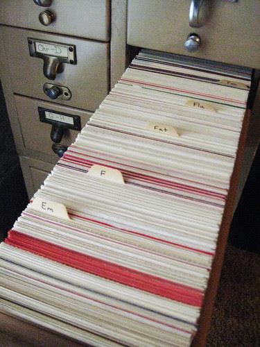 Twelve drawers full of ephemera