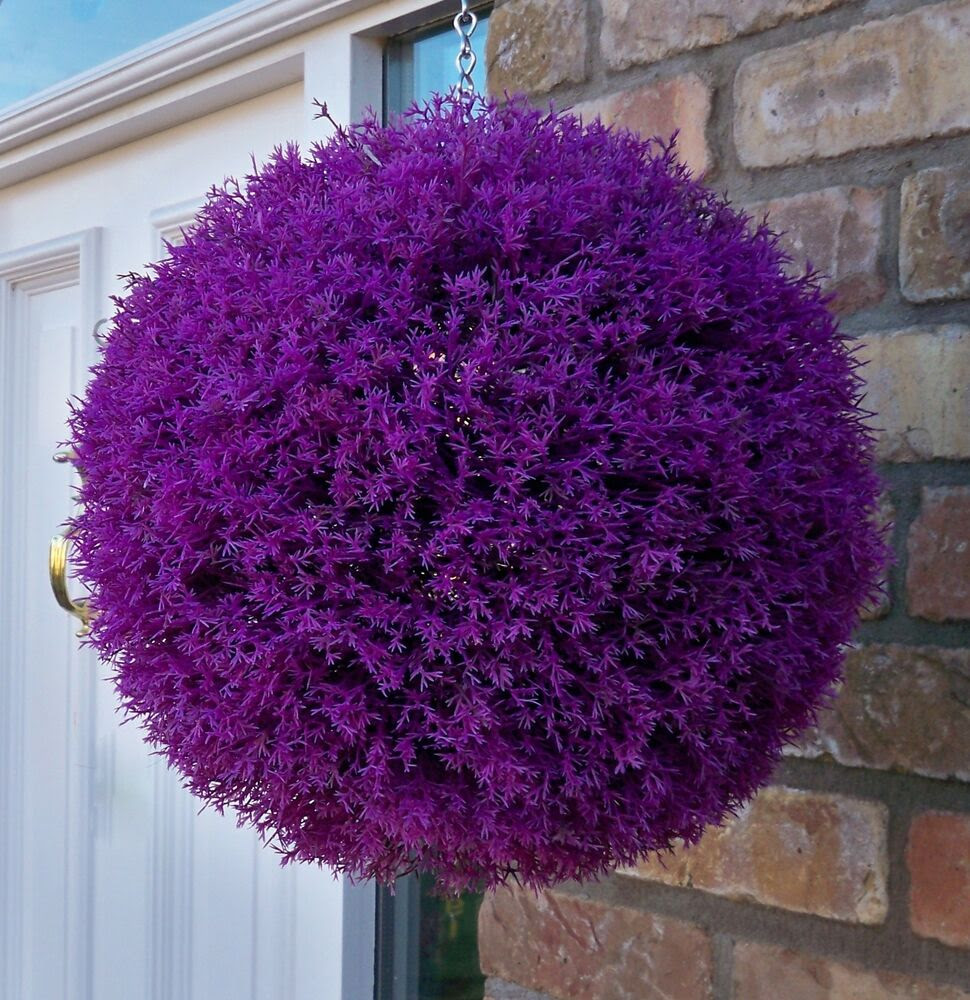 Best Artificial 30cm Purple Heather Topiary Ball Lavender Flower Basket Grass  eBay