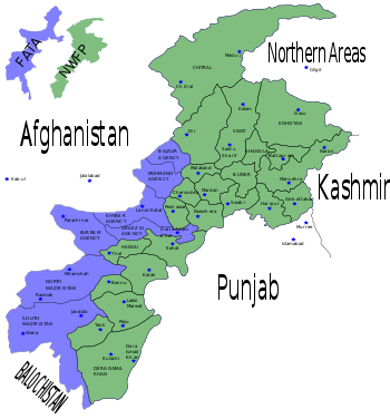 District map of NWFP and FATA.