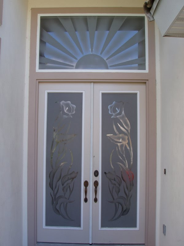 flower design glass door  | 600 x 800