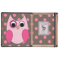 Retro Owl Pink Polka Dots Covers For iPad