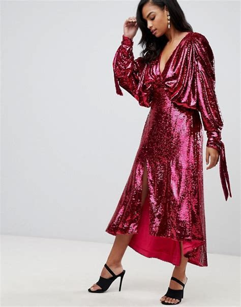 ASOS EDITION sequin batwing midi dress with bow detail   ASOS