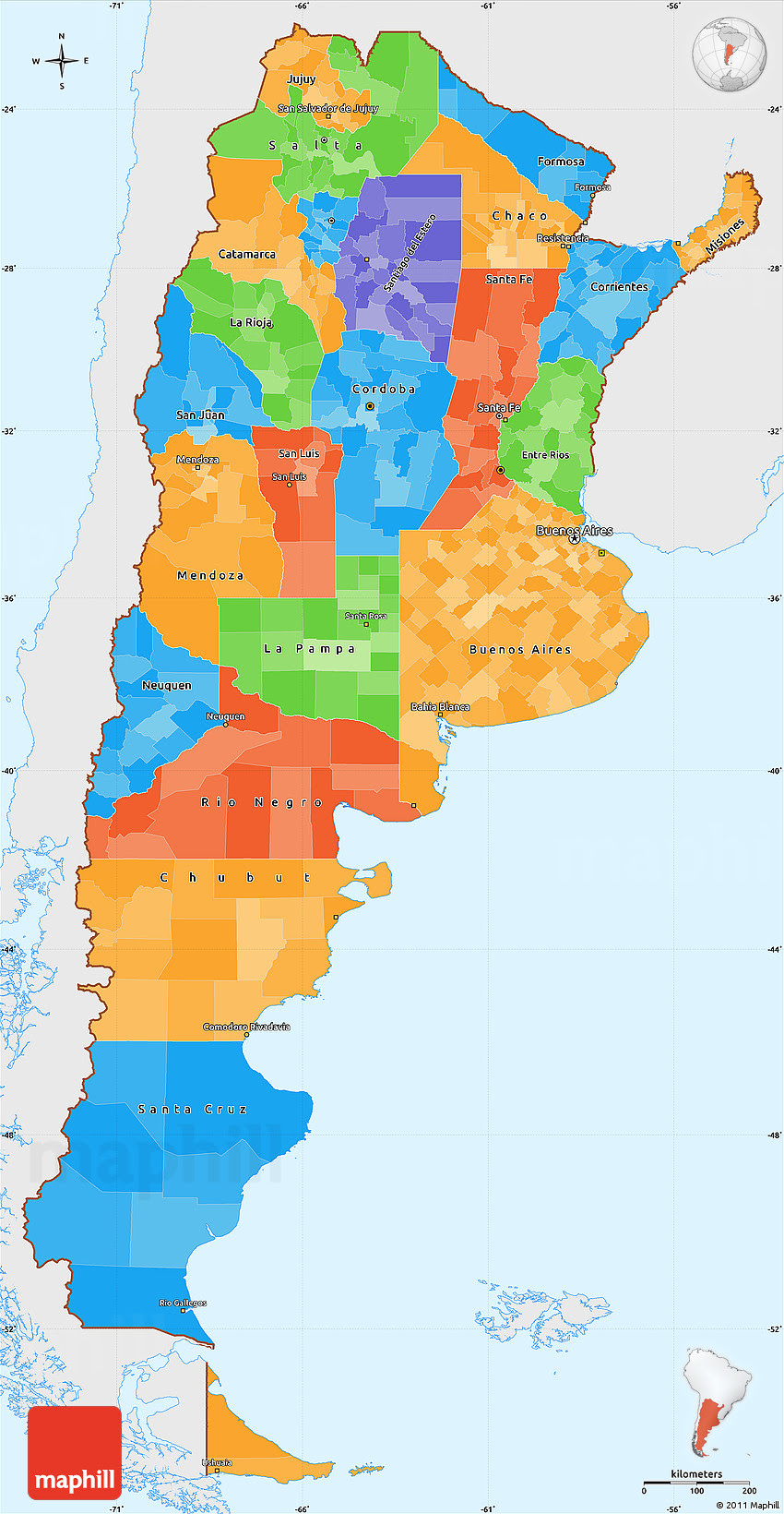 Political Simple Map Of Argentina Single Color Outside