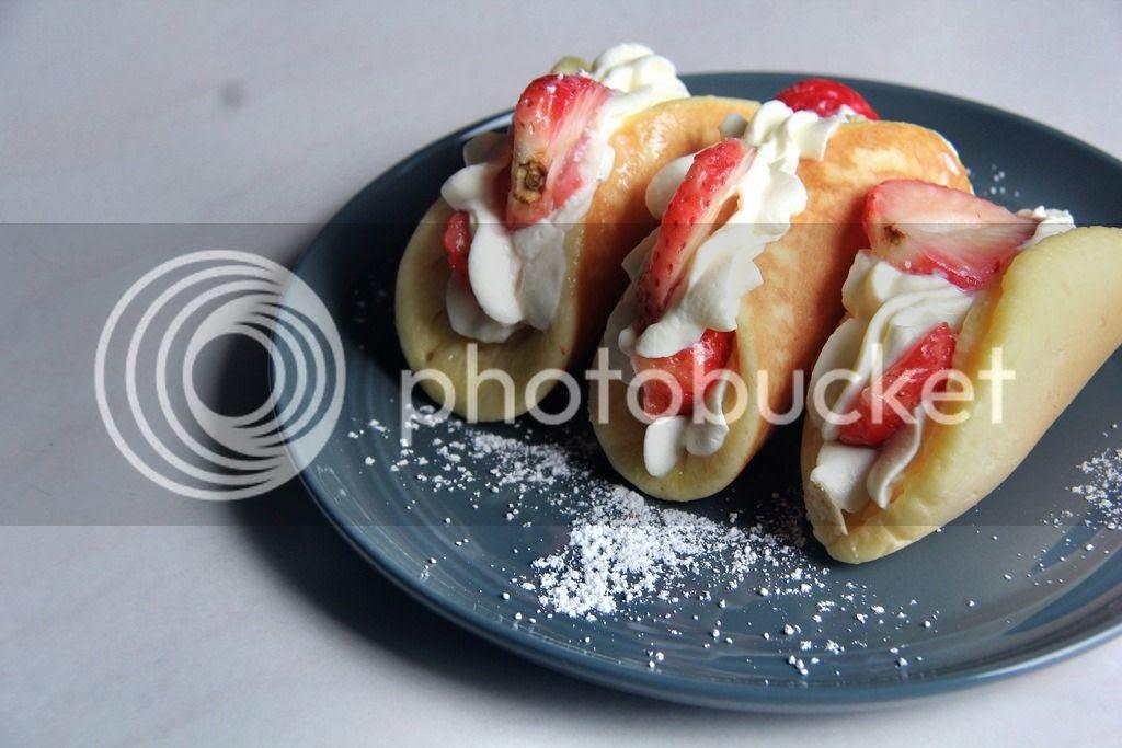 breakfast / dessert - strawberries and condensed milk whipped cream pancake tacos