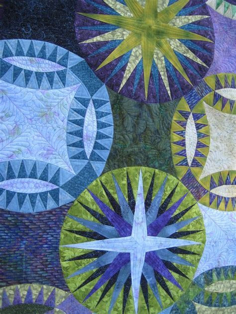"""close up, """"Mariners in a Pickle"""" quilt by Esther at"""