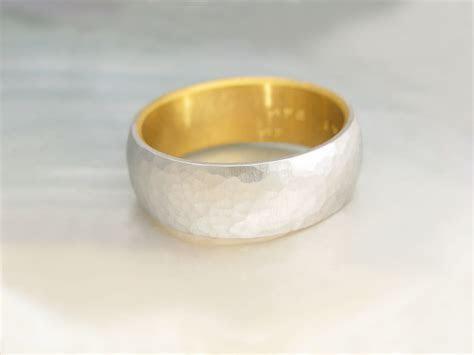 men's platinum wedding band    hammered platinum and 24k