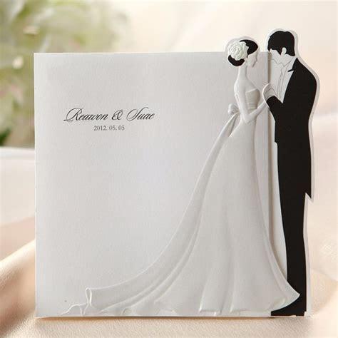 Black & White Embossed Bride Groom Wedding Invitations