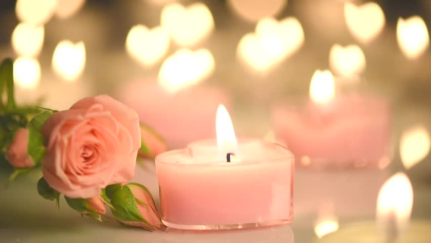 Romantic Valentine's Day Candles And Flowers. Romance ...