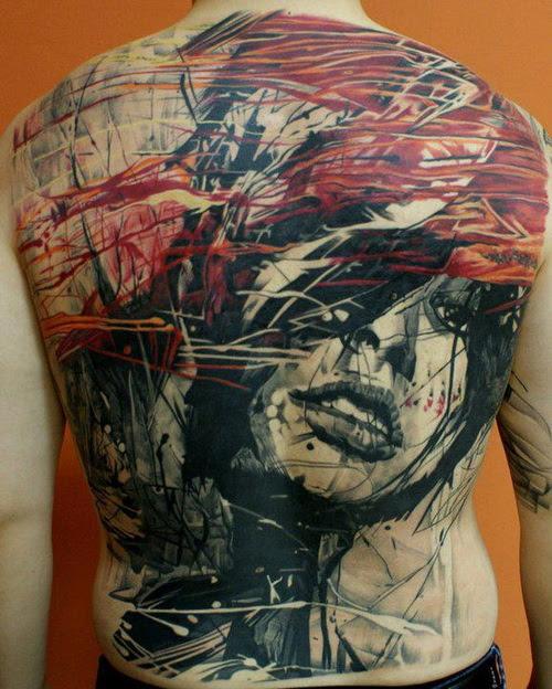Actrsact Girl Face Full Back Tattoo