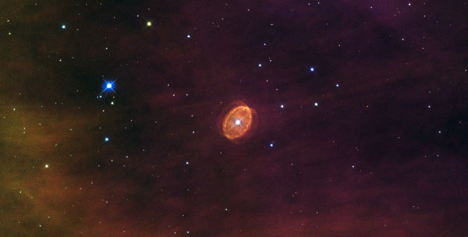 orange ovoid shell around a bright white star