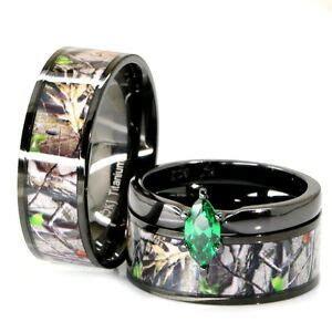 His & Her Black Titanium Camo Marquise Stainless Steel