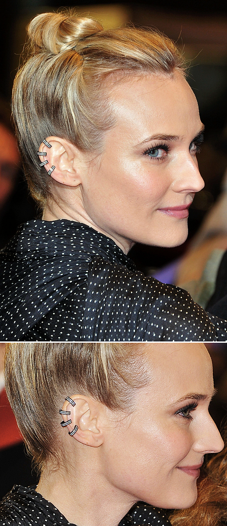 DIANE KRUGER GAIA REPOSSI GUNMETAL SILVER DIAMOND STUDDED EAR CUFFS FAREWELL MY QUEEN PREMIERE GIAMBATTISTA VALLI GOWN DOTS1