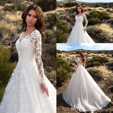 Discount 2017 Gorgeous Ivory Sheer Long Sleeves Wedding