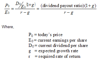 Dividend discount valuation model for stocks formula example.