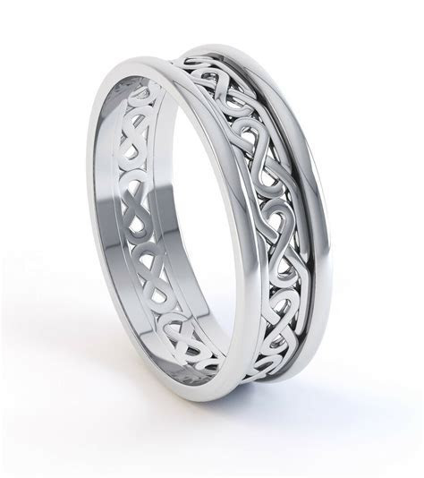 10K White Gold Irish Handcrafted Irish Celtic Knot Wedding