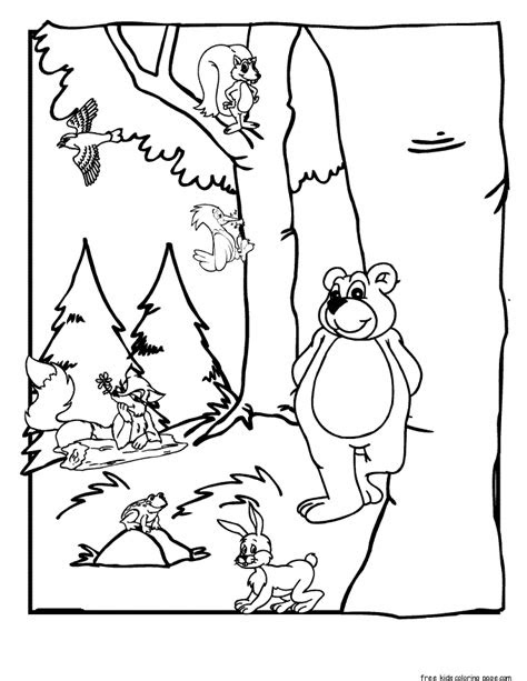 printable forest animals coloring pages  kidsfree