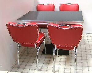 Retro 50s US Diner Furniture Kitchen Table   4 Chairs Restaurant Seating Set Red  eBay
