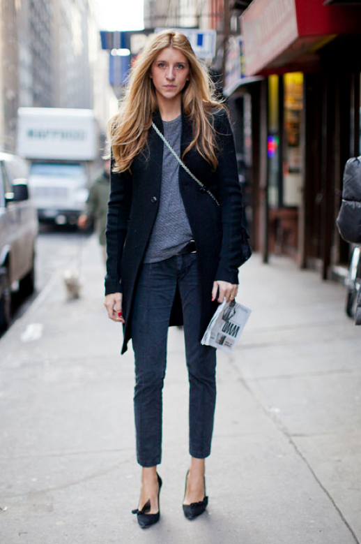 LE FASHION BLOG STYLE EASY CLASSIC COMBO MID LENGTH COAT SKINNY CROPPED JEANS DENIM CHAIN STRAP CROSSBODY BAG BASIC GREY GRAY TEE TSHIRT SKINNY BUCKLE BELT ISABEL MARANT BOW BLACK HEELS PUMPS FASHION WEEK NYFW